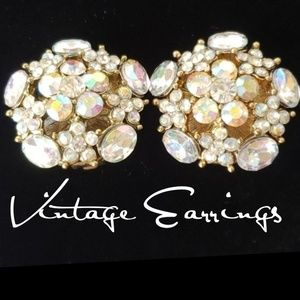 Jewelry - Vintage Gorgeous Borealis Clipon Earrings